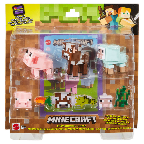 View 4 of Minecraft Baby Animals 3-Pack Comic Maker Action Figure Set photo.