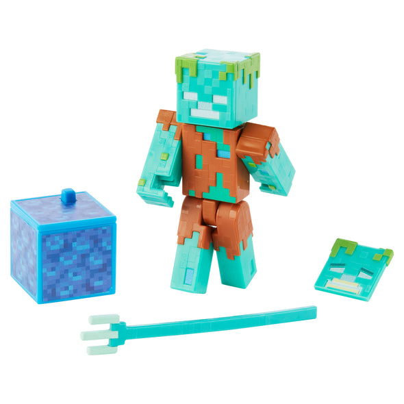 View 1 of Minecraft Drowned Comic Maker Action Figure photo.