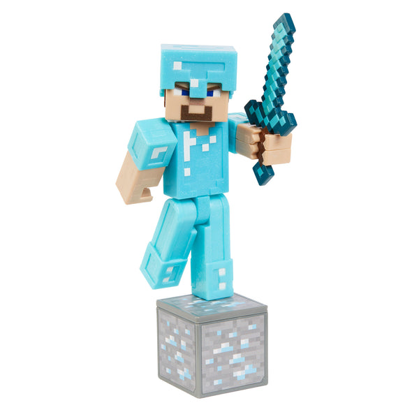 View 2 of Minecraft Steve in Diamond Armor Comic Maker Action Figure photo.