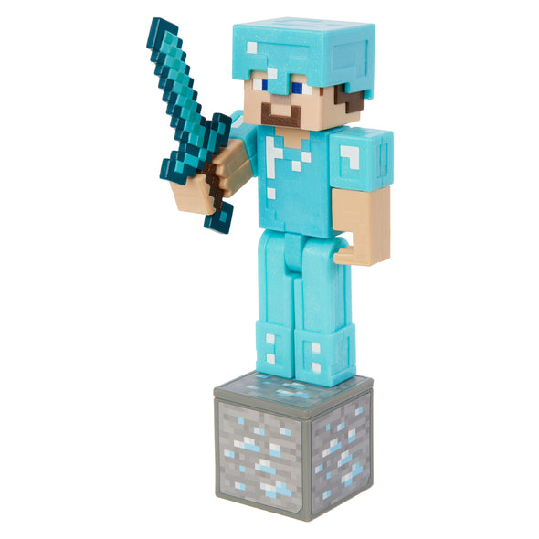 View 3 of Minecraft Steve in Diamond Armor Comic Maker Action Figure photo.