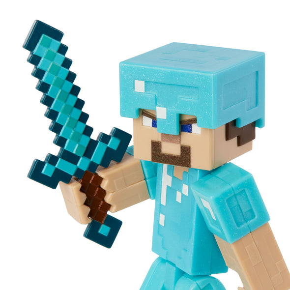 View 5 of Minecraft Steve in Diamond Armor Comic Maker Action Figure photo.