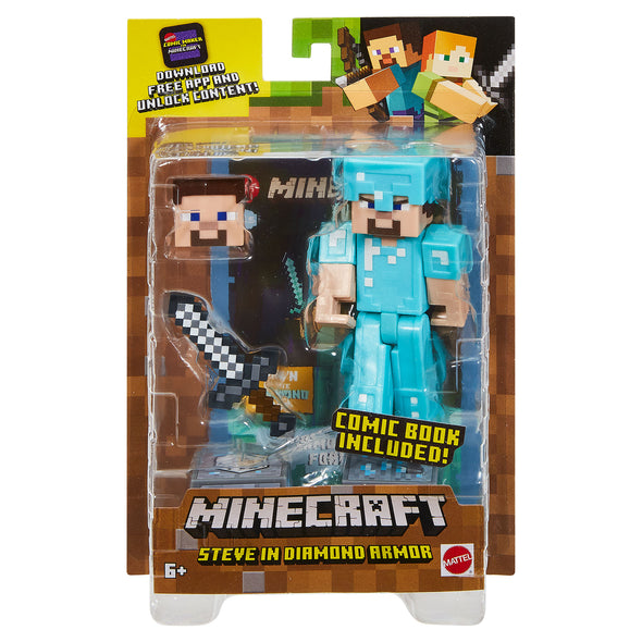 View 7 of Minecraft Steve in Diamond Armor Comic Maker Action Figure photo.