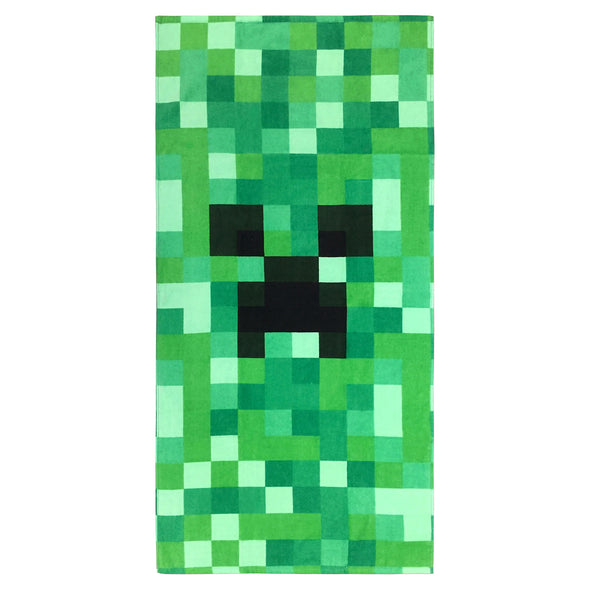 View 1 of Minecraft Creeper Beach Towel photo.