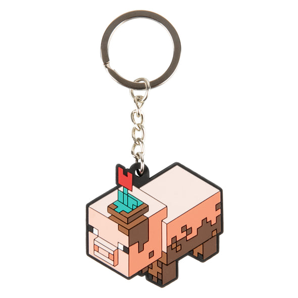 View 1 of Minecraft Earth Muddy Pig Keychain photo.