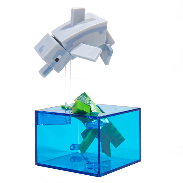 View 1 of Minecraft Dolphin and Turtle Adventure Figure, Series 4 photo.
