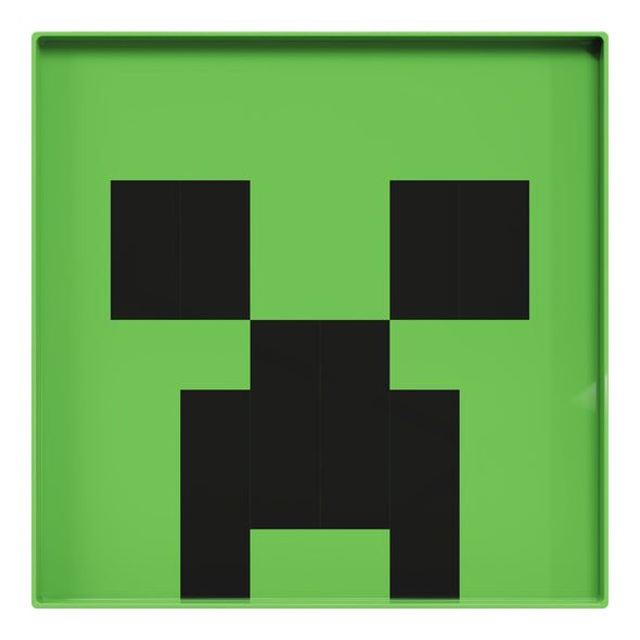 View 1 of Minecraft Creeper Square Plastic Plate photo.