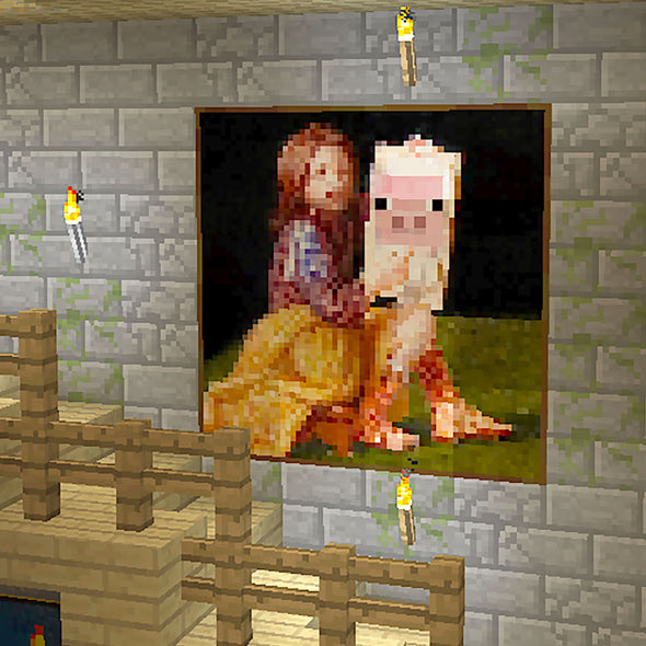 View 2 of Minecraft Pig Portrait Poster photo.