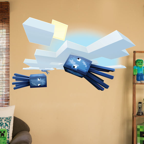 View 1 of Minecraft Flying Squid Wall Decal photo.