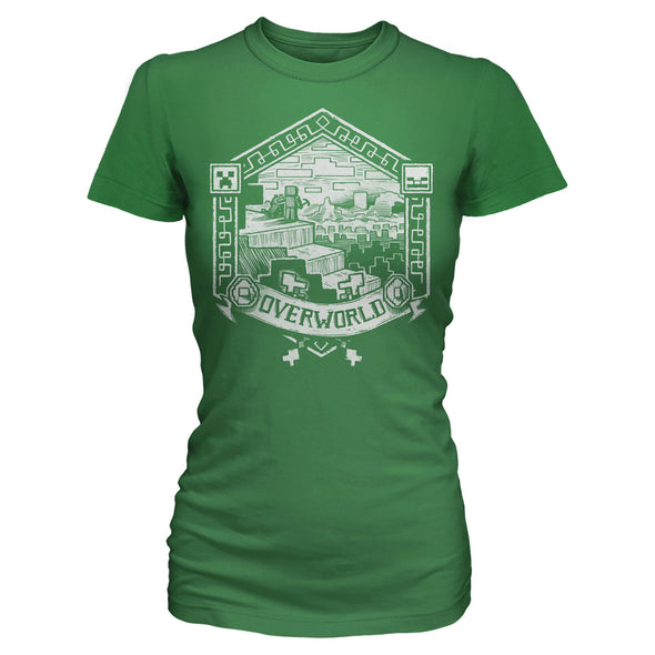View 1 of Minecraft Overworld Linocut Print Women's Tee photo.