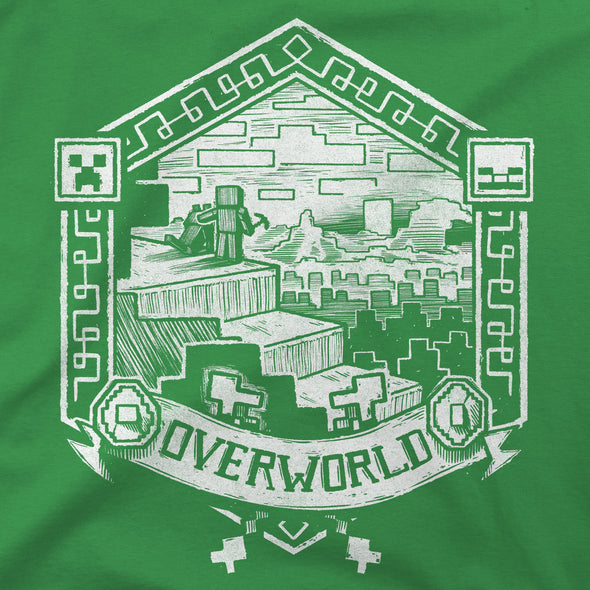 View 2 of Minecraft Overworld Linocut Print Women's Tee photo.