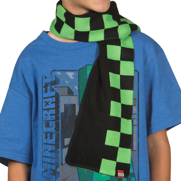 View 4 of Minecraft Creeper Checkered Scarf photo.