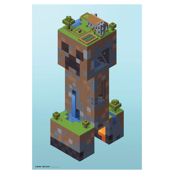 View 1 of Minecraft Creeper Village Wall Poster photo.