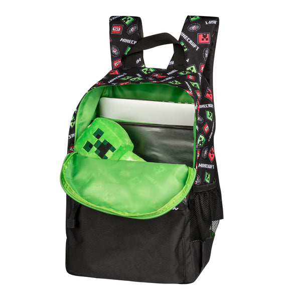 "View 2 of Minecraft 16"" Scatter Creeper Backpack photo."
