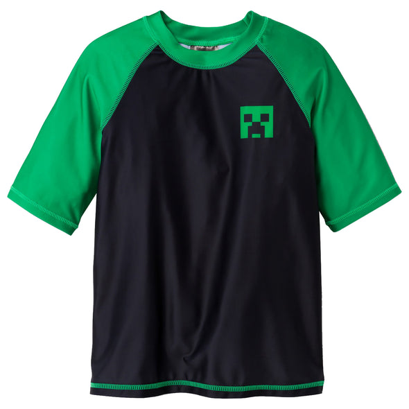 View 1 of Minecraft Boys Creeper Rash Guard Swim Shirt photo.