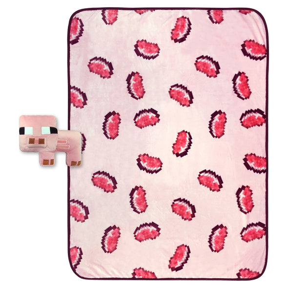 View 1 of Minecraft Pig Pillow Buddy & Throw photo.