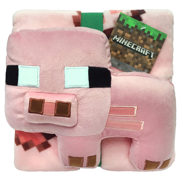 View 2 of Minecraft Pig Pillow Buddy & Throw photo.