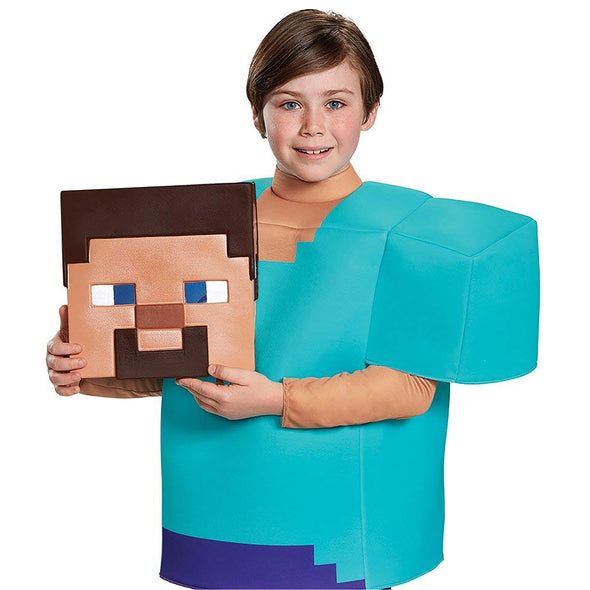 View 3 of Minecraft Steve Deluxe Youth Costume photo.
