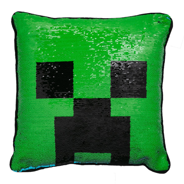View 1 of Minecraft Creeper Face Sequin Pillow photo.