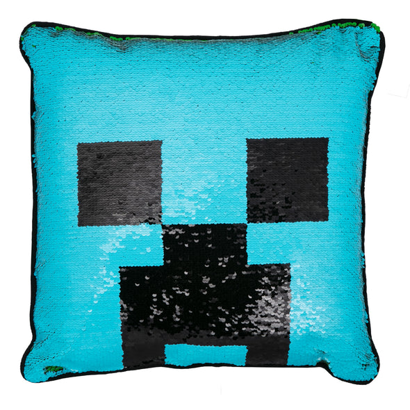 View 2 of Minecraft Creeper Face Sequin Pillow photo.
