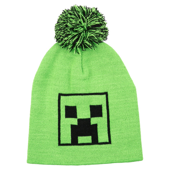 View 1 of Minecraft Creeper Pom Beanie photo.