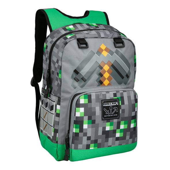 "View 1 of Minecraft 17"" Emerald Survivalist Backpack photo."