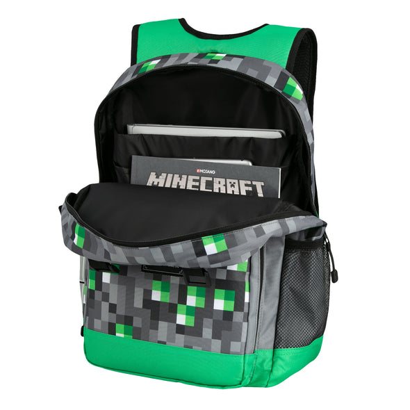 "View 2 of Minecraft 17"" Emerald Survivalist Backpack photo."