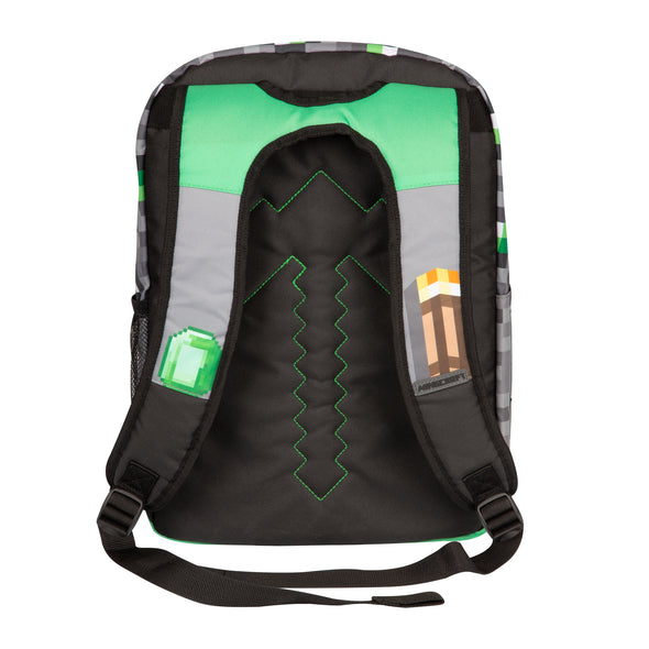 "View 3 of Minecraft 17"" Emerald Survivalist Backpack photo."