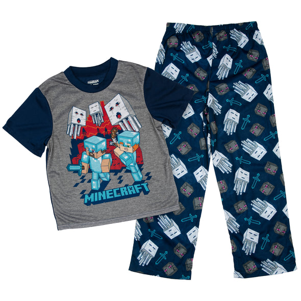 View 1 of Minecraft Diamond Ghast Youth Pajama Set photo.