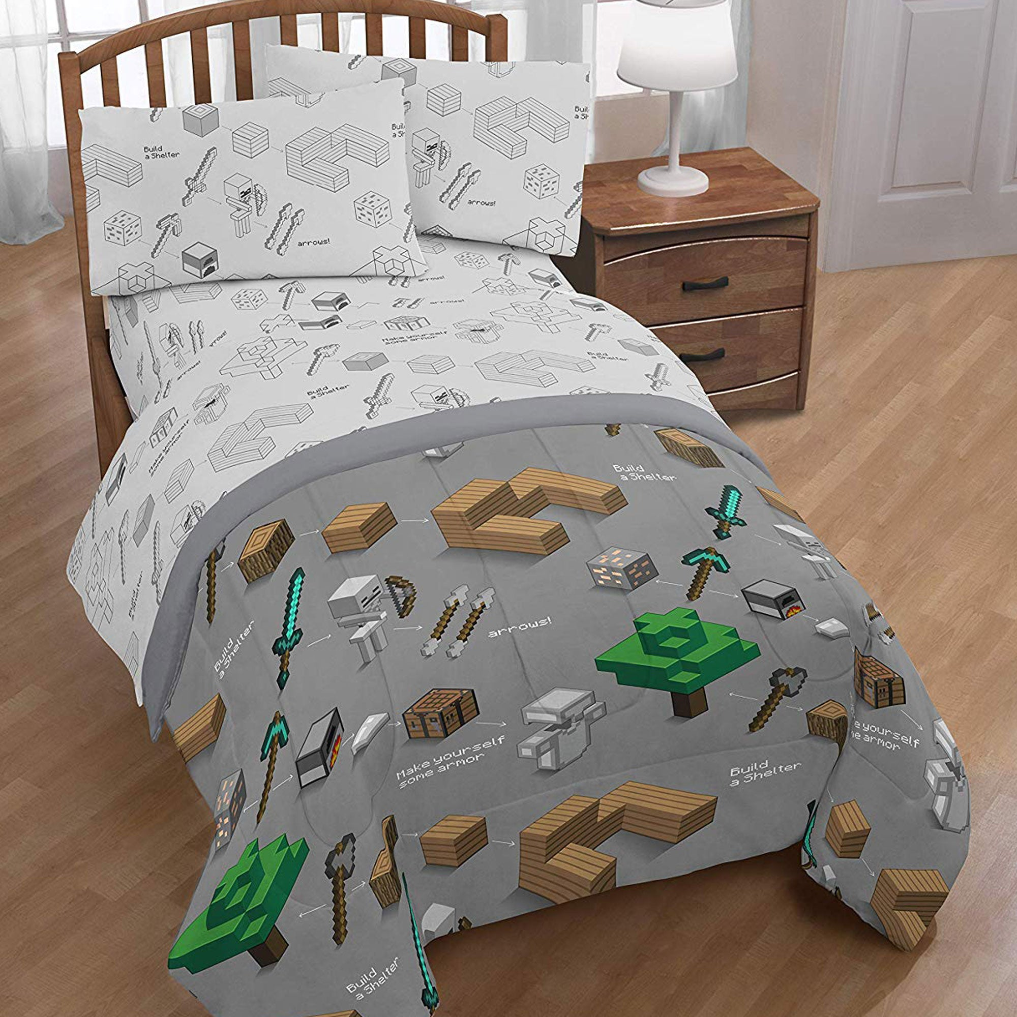 Minecraft Survive Twin Bed In A Bag Official Minecraft Store Powered By J Nx,How To Make A Cool Bed Design In Minecraft