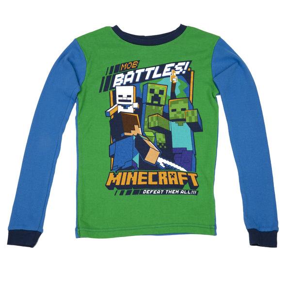 View 4 of Minecraft Mob Battles Youth Pajama Set photo.