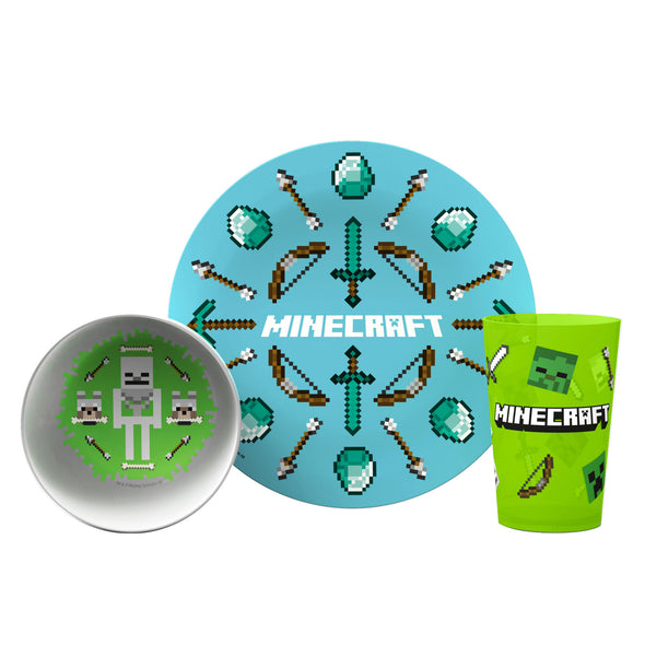 View 1 of Minecraft Plate, Bowl and Tumbler 3-Piece Mealtime Set photo.