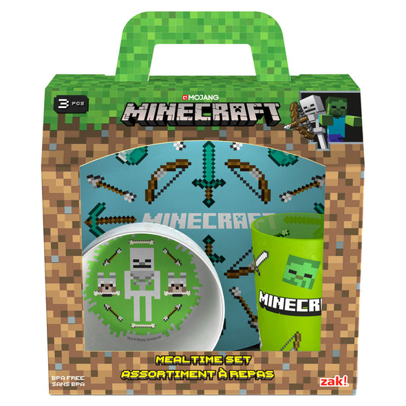 View 2 of Minecraft Plate, Bowl and Tumbler 3-Piece Mealtime Set photo.