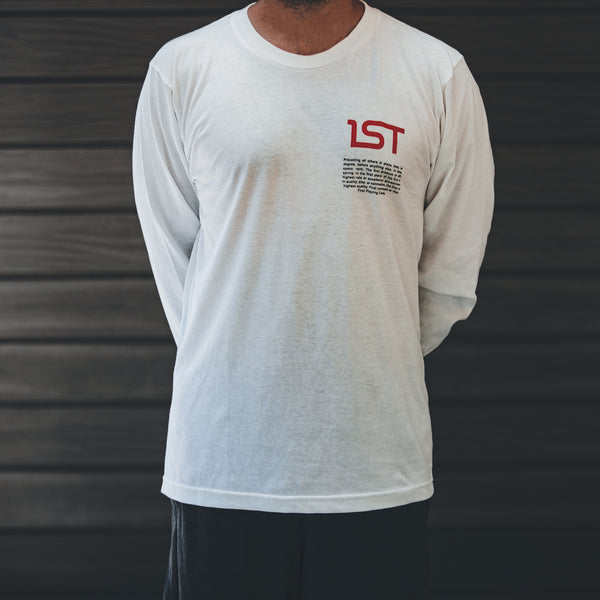 1ST White Long Sleeve T-Shirt