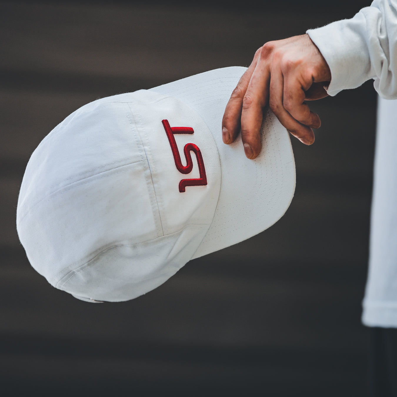 1ST White Five Panel Red Logo