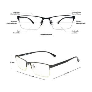 Blue Light Glasses for Computer Anti Glare Half Rim Rectangle Frame - Teddith Blue Light Blocking Glasses for Computer Gaming Anti Glare Reduce Eye Strain Screen Glasses