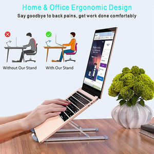 Aluminum Laptop Stand 9 Angles Adjustable Holder Ergonomic Foldable Portable Computer Tablet Stand