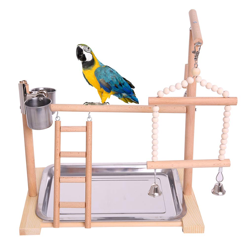 Budgie Bird Cage Decor Stand with Feeder Seed Cups
