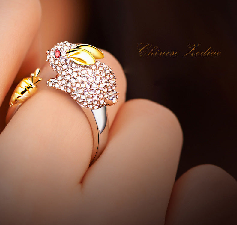 925 Silver Crystal Lovely pet Shape Rings for Women
