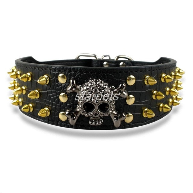 Dog Leather Collar with Spiked Studded Bullet Rivets