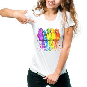 Beautiful Parrot Design Rainbow T-shirt for Women