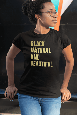 Black Natural And Beautiful In Gold Lettering