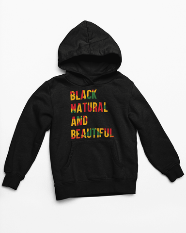 Our Black, Natural, and Beautiful Hooded Sweatshirt lets you make a bold statement with gorgeous, bold, African-inspired colors. Made with 100% combed ring-spun cotton in unisex sizes Small-2XL.