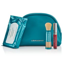 Hydrating Cleaning Coths, Total Protection Brush SPF 50 with cap off, and Lip Shine in Plume shade in front of a saffiano leather bag
