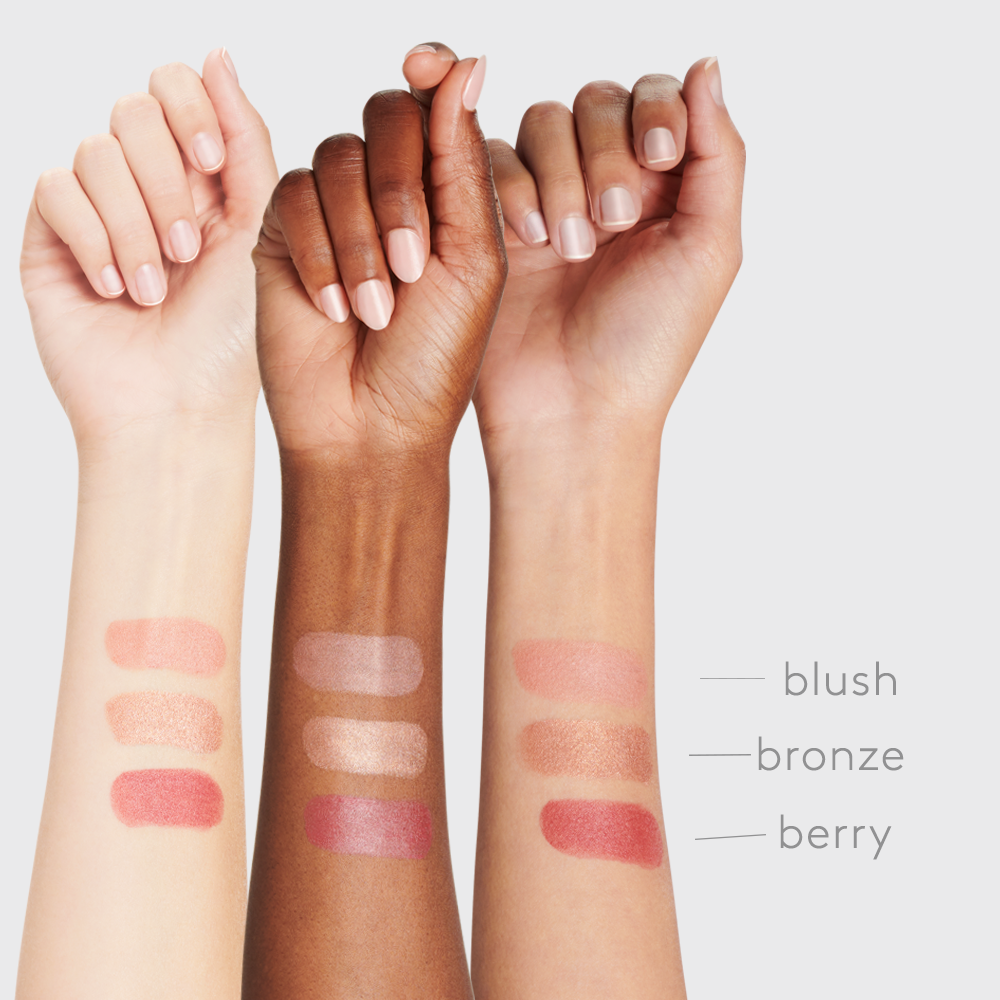 three women arms  of Fair Medium and Deep skin tone with each shade of Sunforgettable® Total Protection™ Color Balms SPF 50 - Berrry, Bronze and Blush || all