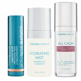 All Calm Redness Corrector, Sunforgettable Total Protection Brush Mini, and Mini Hydrating Mist