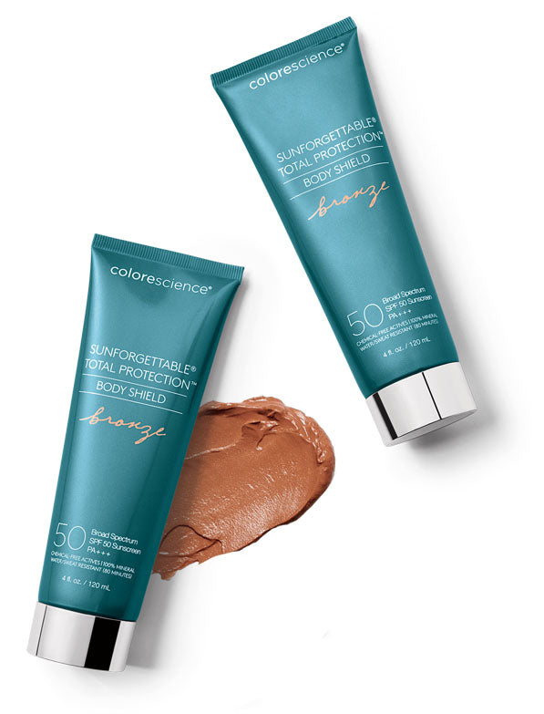 Sunforgettable® Total Protection™ Body Shield Bronze SPF 50 tubes with swatch