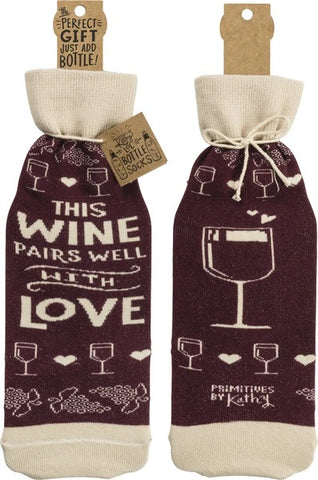 'This Wine Pairs Well With Love' Wine Bottle Bag