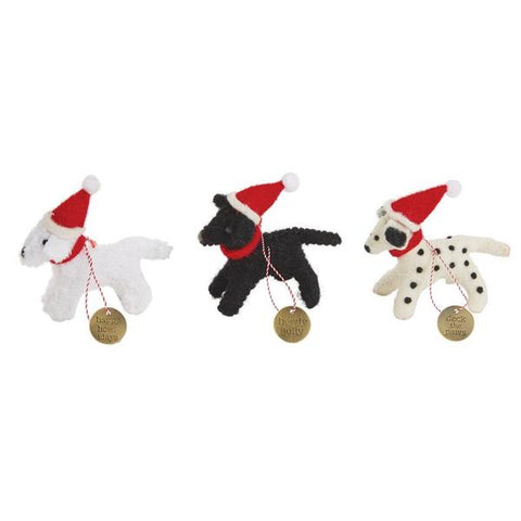 Felted Dog Christmas Ornaments