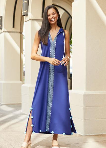 Blue Embroidered Maxi Dress by Cabana Life