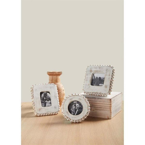 Small Beaded White Picture Frames